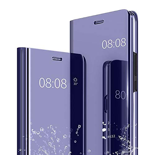 AIsoar Galaxy Note 5 Case, Cover Mirror Smart Clear View Window Flip Case Slim Multi-Function Mirror case S-View Stand flip Folio Full Body Protection Cover for Samsung Galaxy Note 5 (Purple)