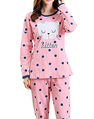MyFav Big Girls Cute Shy Kitten Pajama Sets Polka Dot Long Sleeve Sleepwear 2PCS