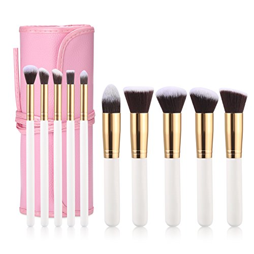 Makeup Brushes Premium Makeup Brush Set Synthetic Kabuki Cosmetics Foundation Blending Blush Eyeliner Face Powder Brush makeup brush kit 10pcs with gift ()