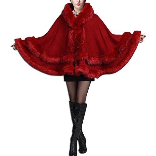 De Vin Cardigan Cape Renard cape À Faux Femmes Rouge Châle Capuche Manteau Kaxidy Fourrure P1H7tWBw