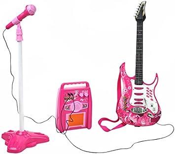 ISO TRADE Guitarra eléctrica + Amplificador + Micrófono con Soporte de Color Rosa para niñas 4709: Amazon.es: Juguetes y juegos