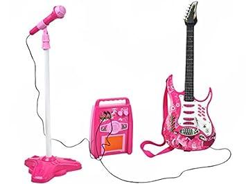 Iso Trade Guitarra eléctrica Azul,Rosa con un micrófono y un Amplificador - un Conjunto para una niña #4709: Amazon.es: Juguetes y juegos