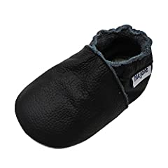 Soft sole baby shoes of brand Mejale, 100% genuine leather, non-slip wide sole is brushed on for comfort and protection. All our shoes have an elastic ankle so they are put on easily and remain on little feet, even though the shoes run bigger...