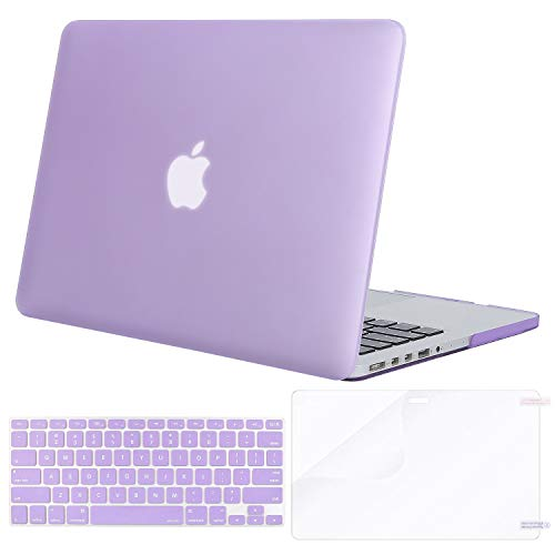 Protector Case Lavender Shield - MOSISO Case Only Compatible Older Version MacBook Pro Retina 13 Inch (Model: A1502 & A1425) (Release 2015 - end 2012), Plastic Hard Shell & Keyboard Cover & Screen Protector, Light Purple
