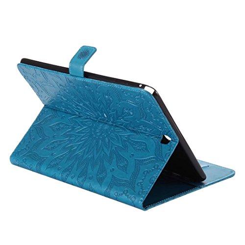 T550 Protettivo 7 Magnetico di Silicone Tavoletta Carte A Porta CRossoito Bumper T555 9 Samsung LEMORRY Portafoglio Galaxy TPU Morbido Pelle Custodi Cover Tab Sottile Cuoio Custodia Flip Borsa Blu con WRYgZWqX