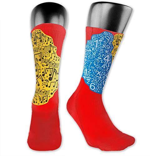 Unisex Performance Cushion Crew Socks Tube Socks Left Is Math Right Is Music New Middle High Socks Sport Gym Socks