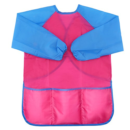 LOKIPA Waterproof Pink Paint Apron for Kids, Children Art Smock Long Sleeve with 3 Roomy Pockets, Pack of 1 Suitable for 4-8 Years
