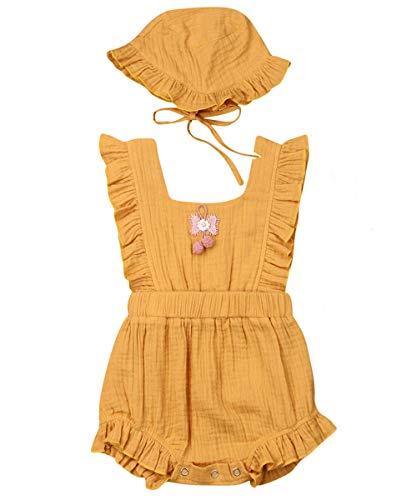 Newborn Infant Baby Girl Clothes Lace Halter Backless Jumpsuit Romper Bodysuit Sunsuit Outfits Set (Pompom Cotton Romper with Hat-Yellow, 6-12 Months)