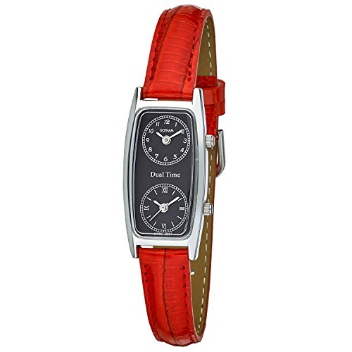 Gotham Women's Silver-Tone Dual Time Red Leather Strap Watch # GWC15093SBR