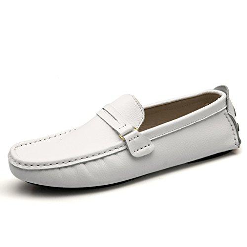 Minitoo Hombres de rayas funda de piel tipo mocasín zapatos de conducción Loafers Comfort Slip-On Loafers Flats blanco