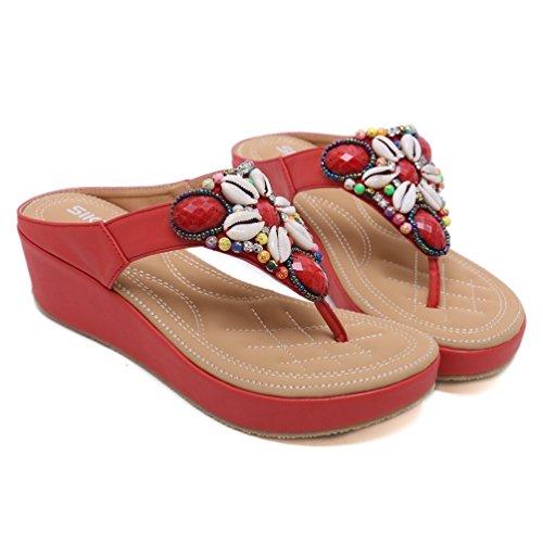 Mode Bride Chaussures Cheville Sandales 42 Rouge Sandale Antidérapantes Compensées Casual JRenok 35 Ouvertes Plage Femmes Bohême 4H0HqvP