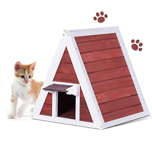 Tangkula Triangle Cat House, Wooden Indoor/Outdoor Weatherproof Pet Kitten Condo Shelter with Back Escape Door, Cat House with Eave to Prevent Rain for Animals (Red)