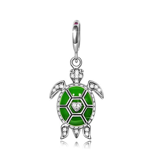 (NINAQUEEN Turtle 925 Sterling Silver Green Dangle Pandöra Charms Pendant Charm Fit European Pandöra Bracelets Necklace Birthday for Her Teen Girls Kids Women Wife Daughter)