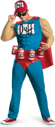 Disguise Unisex Adult Classic Muscle Duffman, Multi, X-Large (42-46) (Bender Costume)