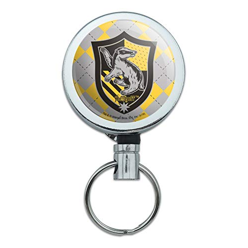 Harry Potter Hufflepuff Plaid Sigil Heavy Duty Metal Retractable Reel ID Badge Key Card Tag Holder with Belt Clip (The Keeper Of The Keys Harry Potter)