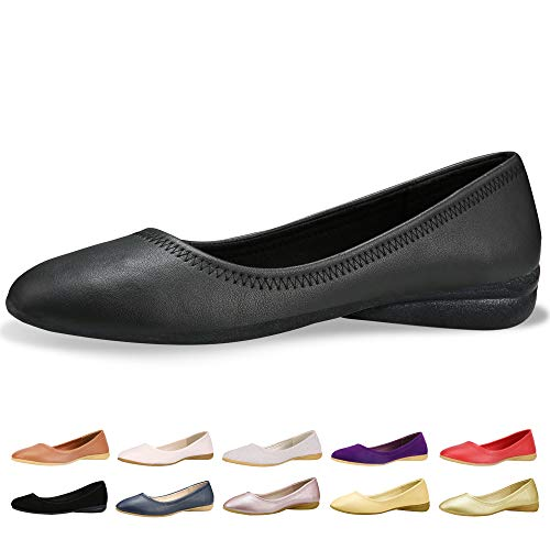 CINAK Flats Shoes Women- Slip-on Ballet Comfort Walking Classic Round Toe Shoes (10-10.5 B(M) US/ CN42/ 10.2'', Black PU) ()