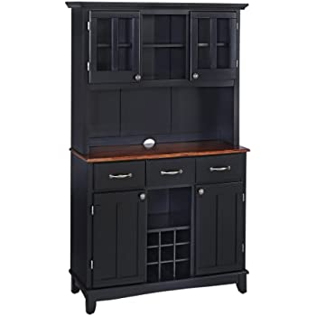 Home Styles 5100-0042-42 Buffet of Buffets Medium Cherry Wood Top Buffet with Hutch, Black Finish, 41-3/4-Inch