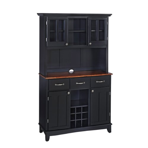 Home Styles 5100-0042-42 Buffet of Buffets Medium Cherry Wood Top Buffet with Hutch, Black Finish, 41-3 4-Inch