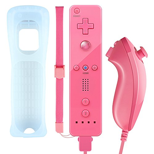 Wii Control (Wii Controller,XW02 Nintendo Wii Remote Control and Nunchuck With Silicone Case Wrist Strap Built-in Vibration Motor For Wii And Wii U-Peach)