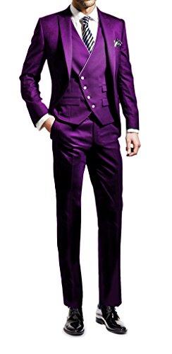 Di Uomini Parti Nozze Suit Slim Me Pantaloni Festa Si Giacca Gilet 3 Viola Adatta Fit Smoking qtvzvH