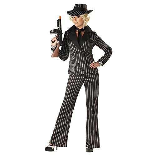 California Costumes Women's Gangster Lady Costume, Black/White, (Gangster Woman Costume)