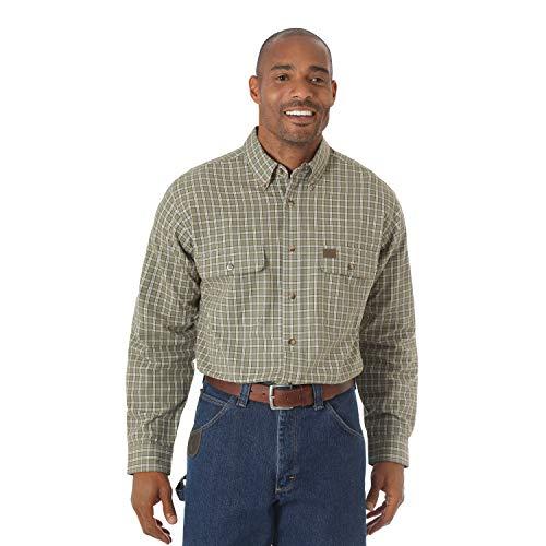 Wrangler Mens Riggs Workwear Foreman Plaid Long Sleeve Work Shirt
