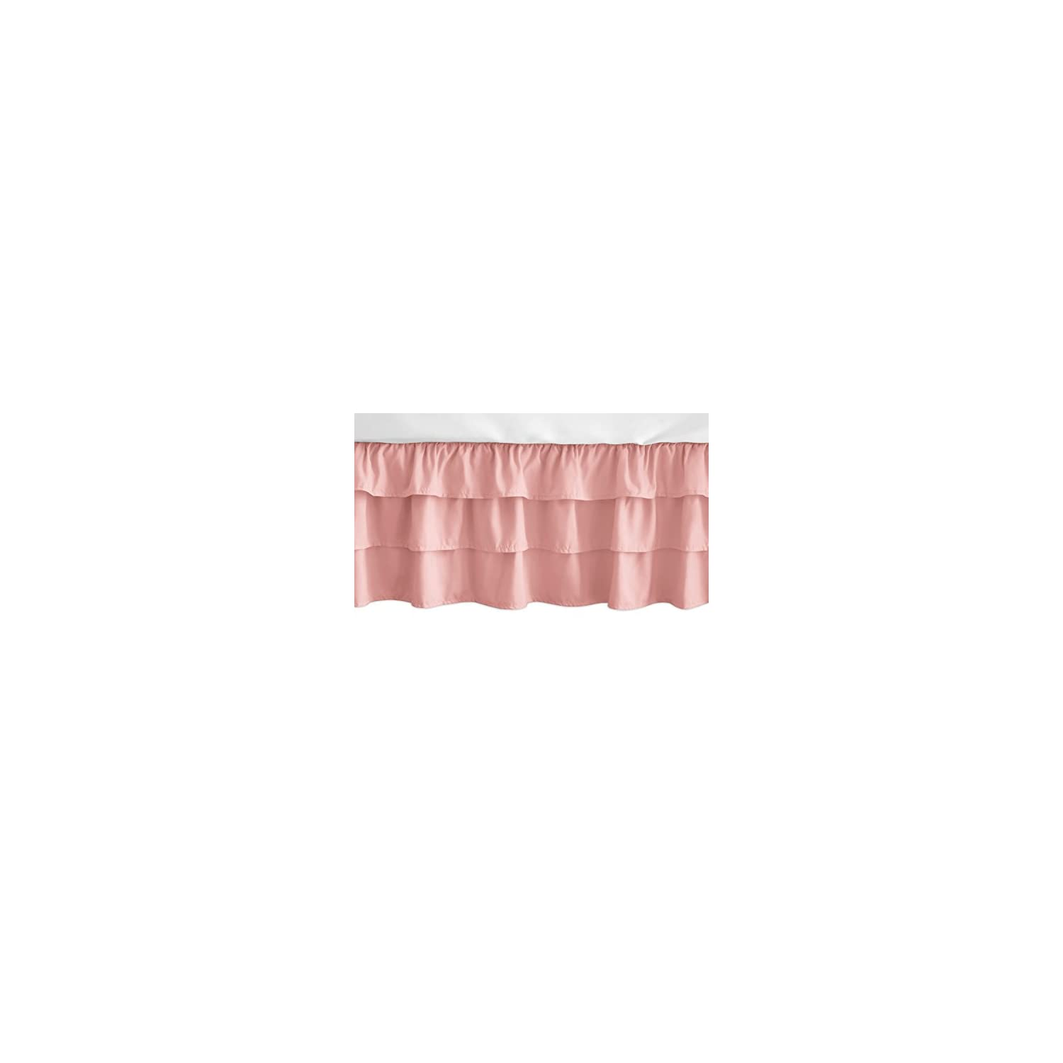 Sweet Jojo Designs Solid Coral Girl Ruffled Tiered Baby Crib Bed Skirt Dust Ruffle for Feather Collection