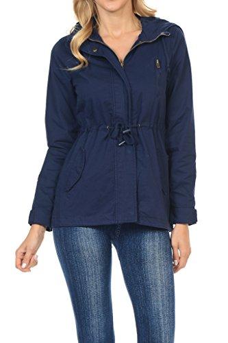 Women's Versatile Military Safari Utility Anorak Street Fashion Hoodie Jacket Navy Medium