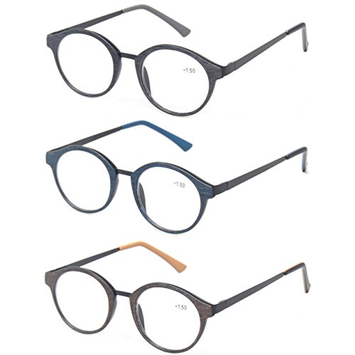 Kerecsen 3 Pack Vintge Metal Round Reading Glasses Classic Men and Women Spring Hinge Readers (3 Pack Mix Color, 2.0) by Kerecsen