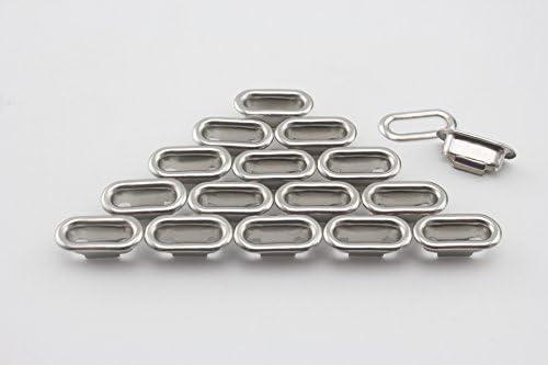 真鍮製 楕円形 ハトメ アイレット 鳩目 座金付き 穴径12mm 40個入り ニッケル CK51