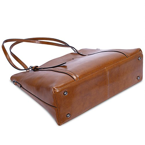 Brown Shoulder Dark Large Bag Leather ZONE Satchel Top Daily S Women Handle Genuine Capacity Tote Work qZUcv6