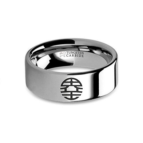 Dragon Ball Z King Kai Emblem Engraved Tungsten Wedding Band - 8 mm