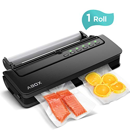 Vacuum Sealer Machine, ABOX V63 Automatic Food Vacuum Air Sealing System with Built-in Cutter, Starter Kit Roll and Holder for Food Saver Storage