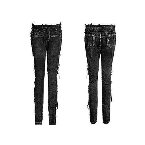 Con Grossi Misure Wash Vintage 6 Donne Aggiungi Neri Elastici Punk Pantaloni Pantaloni Devil Shackles Gotici wqvzFg6A