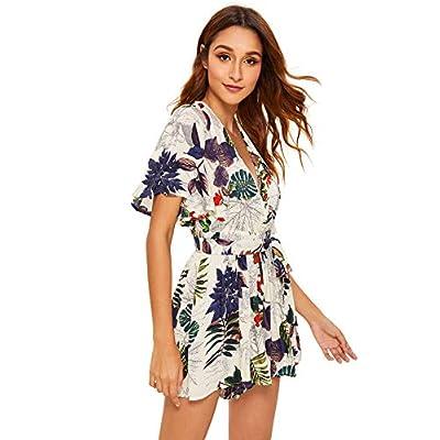 SheIn Women's V Neck Floral Print Tie Waist Short Romper Jumpsuit: Clothing