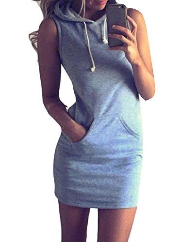 Coolred Drawstring Grey Hood Sleeveless Women Dress Pencil Pocket Fashion SSwrfEnqZ