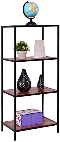 Tangkula Ladder Shelf, Multipurpose Storage Bookcase Organizer, Free Standing Decor Storage Shelf, Flower Plant Display Shelf for Home Office, Bookshelf Rack 4-Tier 24 x17 x 55 L x W x H
