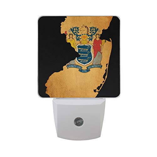 Plug in LED Night Light Ultra-Slim, and Cool-Touch Dusk to Dawn Sensor Night Lamp New Jersey State Map Vintage Kids Adults and Nursery Decor Night Light