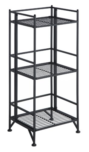 Convenience Concepts Designs2Go X-Tra Storage 3-Tier Folding Metal Shelf, Black - 3 Tier Metal Shelf