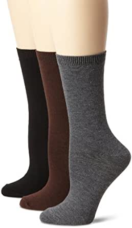 Nine West Women's Solid Flat Knit Crew 3 Pair Sock, Charcoal Heather, Size 9-11