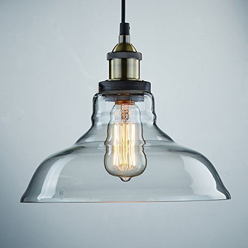 Glass Pendant Light Fixture - CLAXY Ecopower Industrial Edison Vintage Style 1-Light Pendant Glass Hanging Light