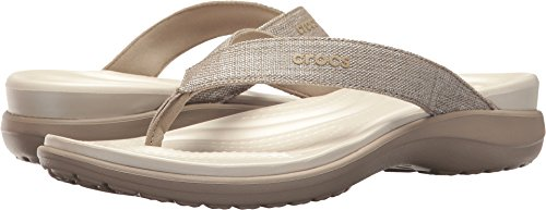 Crocs Women's Capri V Shimmer Flip-Flop, Cobblestone, 8 M US