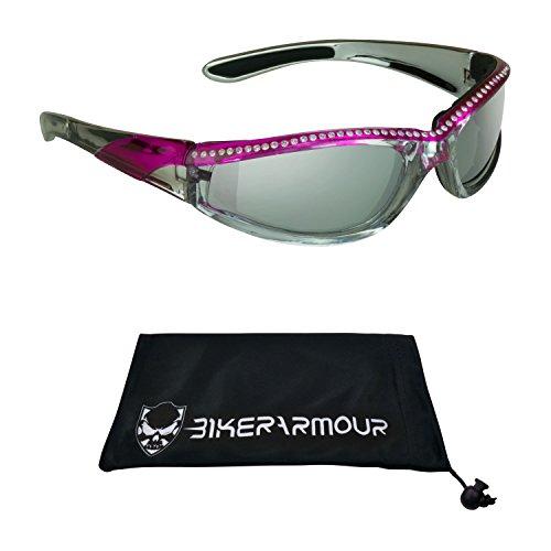 Chrome Frame Anti Glare Mirrored Motorcycle Sunglasses with Rhinestones Foam Padded for Women (Smoke Mirror Pink)