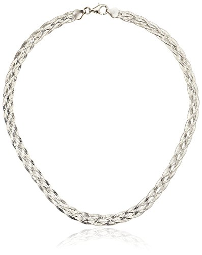 Silver Braided Necklace (Italian Sterling Silver 5-Strand Braided Herringbone Necklace, 18