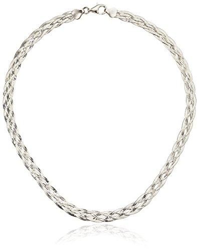 Italian Sterling Silver 5-Strand Braided Herringbone Necklace, 18