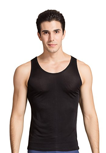Mens Silk Knit Tank Top - CLC Men's Mulberry Silk Camisole Sleeveless Shirt Tank Tops Knit Fabric (XL/Bust:41