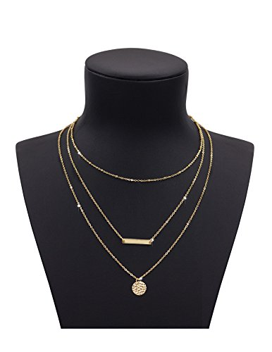 Women 2 Layers Gold Plated Coins Disc Necklace Gold - 4