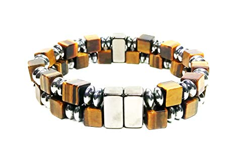 AURAS BY OSIRIS - Hematite & Tiger Eye Bead Bracelet For Men And Women - 2 Row - Magnet Therapy - Good Luck & Confidence - Arthritis & Joint -