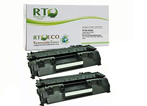 Renewable Toner Compatible Toner Cartridge Replacement HP 05A CE505A for HP Laserjet P2030 P2035 P2050 P2055 (Black, 2-Pack)