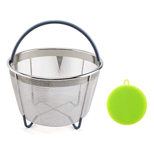 6qt Stainless Steel Steamer Basket Fits InstaPot Pressure Cooker Instant Pot Accessories with Silicone Scrubber Handle and Non-Slip Legs for Steaming Vegetables Fruits Eggs Meats